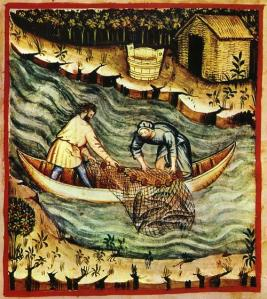 14th-century illustration of fishermen
