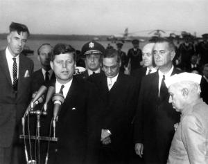 Galbraith with JFK, B K Nehru, v-p Lyndon Johnson and Jawaharlal Nehru, 6 Nov 1961