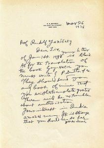 A letter written by Mukerji, page 1