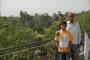 Anil Gautam with his son Rajnish on their terrace (c) V Anand Sankar 2009