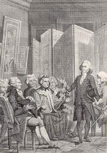 Madame Geoffrin's salon in 18th c Paris, from Jacques Delille, La Conversation, 1812