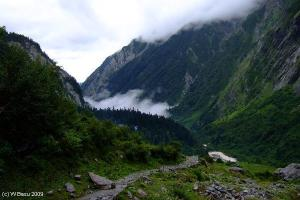 Down towards Ghangharia from the entrance to the Valley of Flowers (c) Wrik Basu 2009